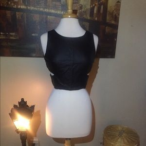Vegan leather in front crop top with cut outs!